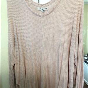 Blush Waffle long sleeve top